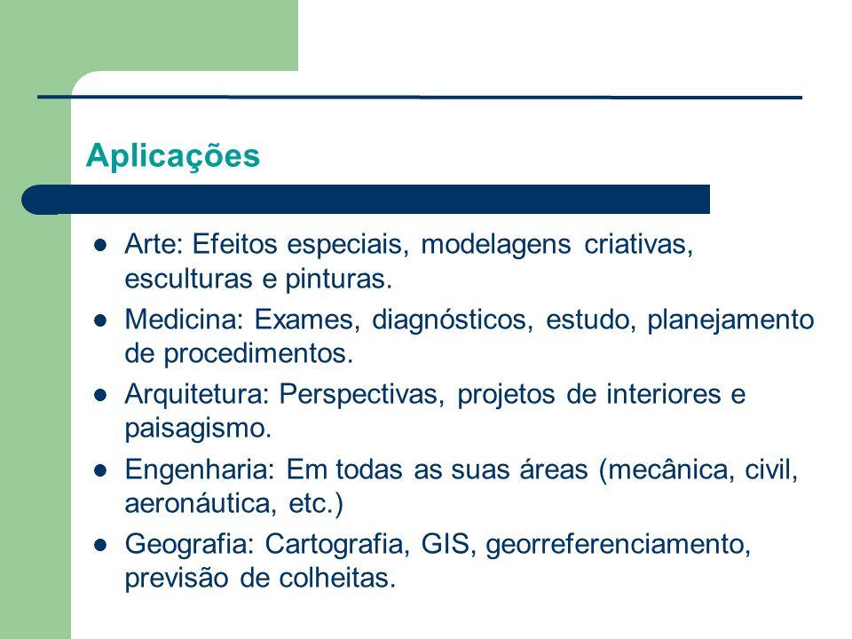 Aplicações Arte: Efeitos especiais, modelagens criativas, esculturas e pinturas.