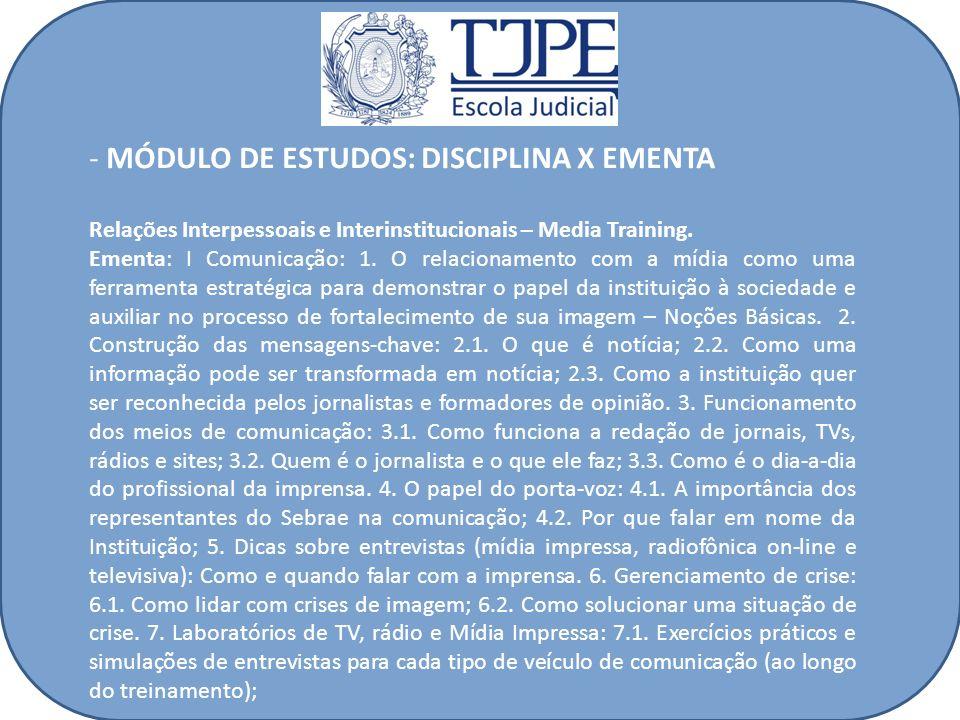 MÓDULO DE ESTUDOS: DISCIPLINA X EMENTA