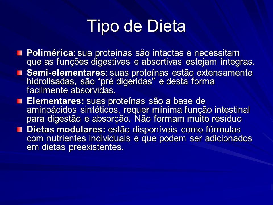 Tipo de Dieta Polimérica: sua proteínas são intactas e necessitam que as funções digestivas e absortivas estejam íntegras.