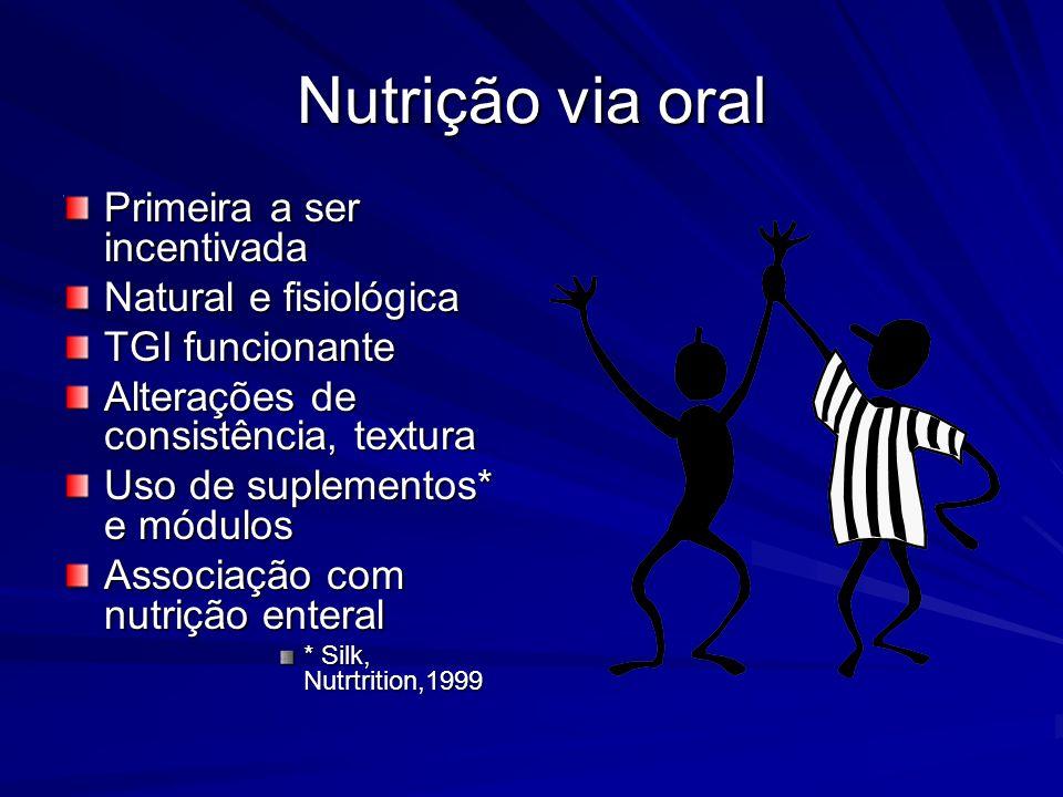 Nutrição via oral Primeira a ser incentivada Natural e fisiológica