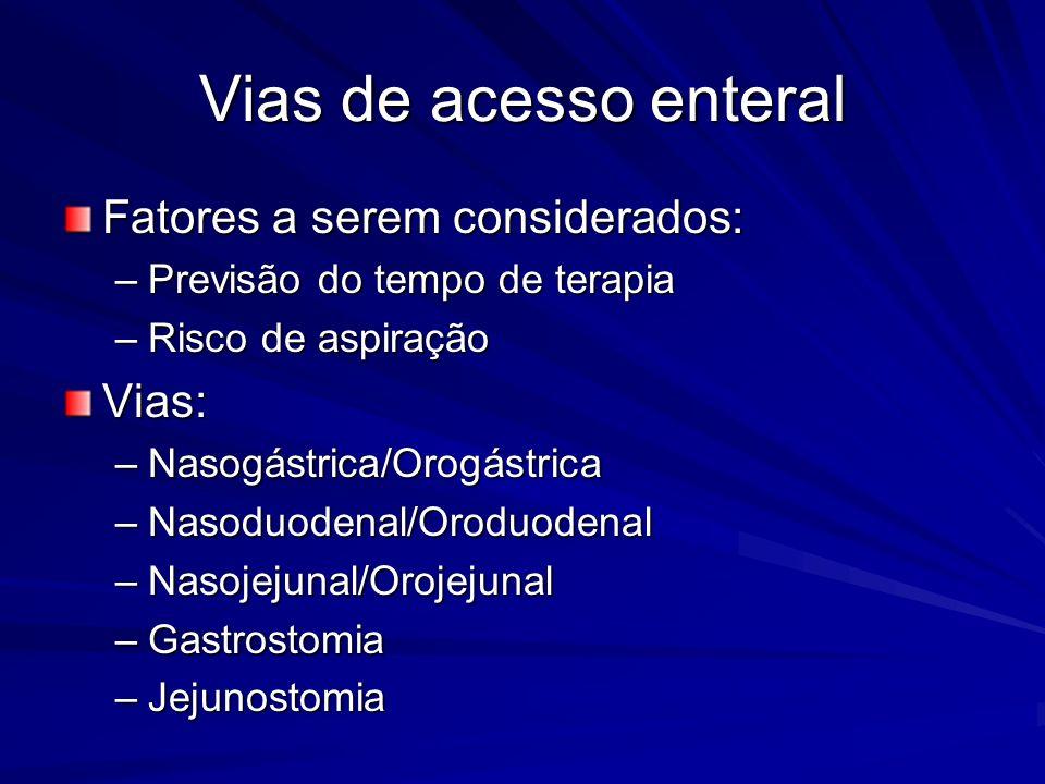 Vias de acesso enteral Fatores a serem considerados: Vias: