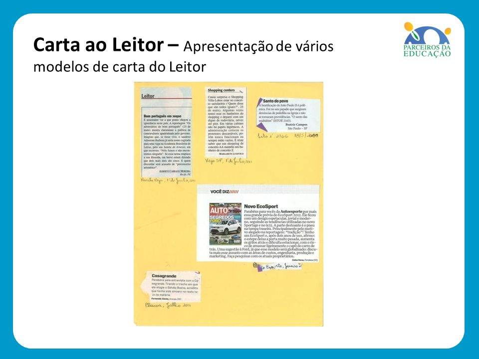 Carta ao Leitor – Apresentação de vários modelos de carta do Leitor
