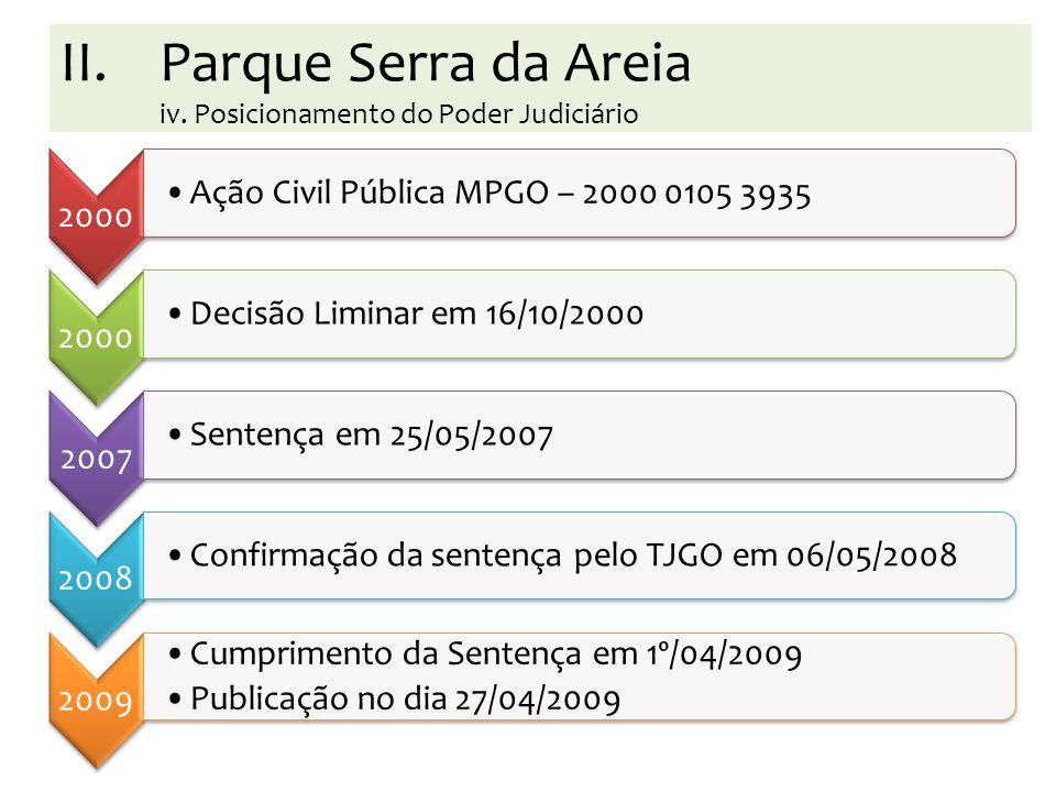 Parque Serra da Areia iv. Posicionamento do Poder Judiciário