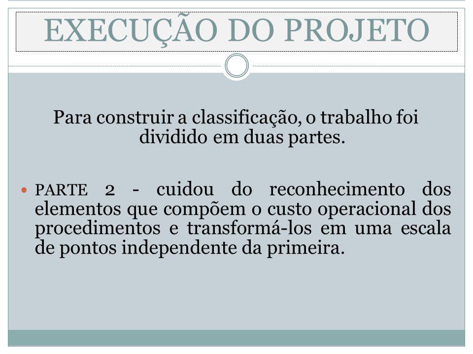 EXECUÇÃO DO PROJETO Para construir a classificação, o trabalho foi dividido em duas partes.