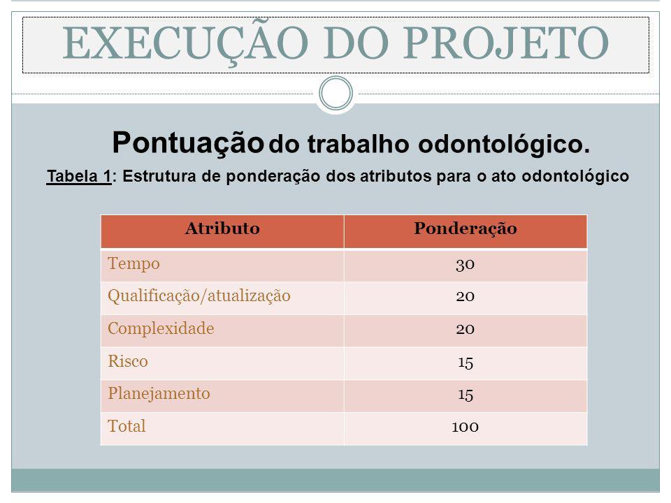 EXECUÇÃO DO PROJETO Pontuação do trabalho odontológico.