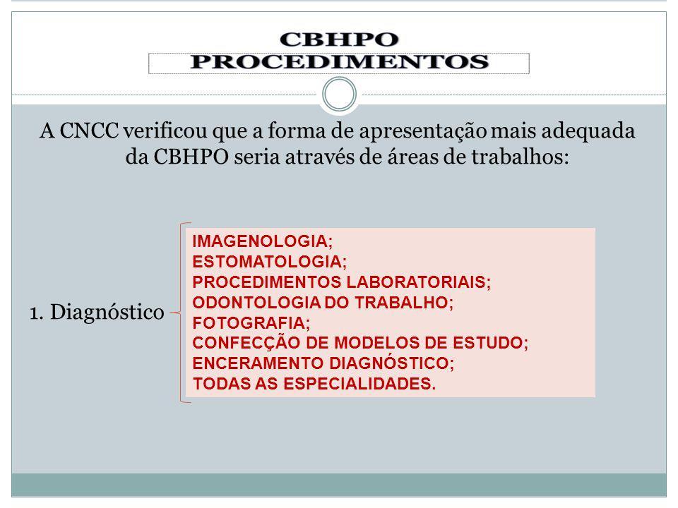 A CNCC verificou que a forma de apresentação mais adequada da CBHPO seria através de áreas de trabalhos: 1. Diagnóstico
