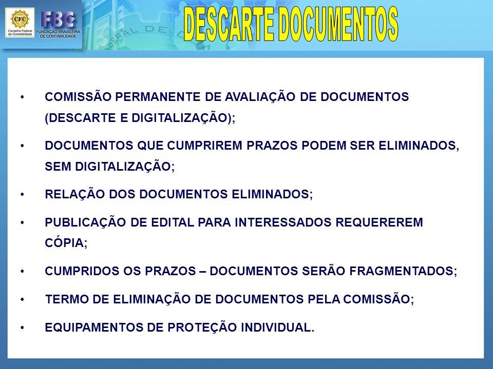 DESCARTE DOCUMENTOS COMISSÃO PERMANENTE DE AVALIAÇÃO DE DOCUMENTOS (DESCARTE E DIGITALIZAÇÃO);