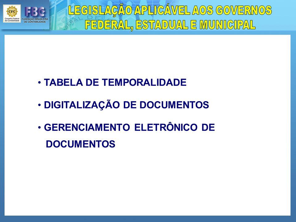 TABELA DE TEMPORALIDADE DIGITALIZAÇÃO DE DOCUMENTOS