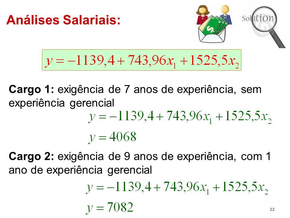Análises Salariais: Cargo 1: exigência de 7 anos de experiência, sem experiência gerencial.