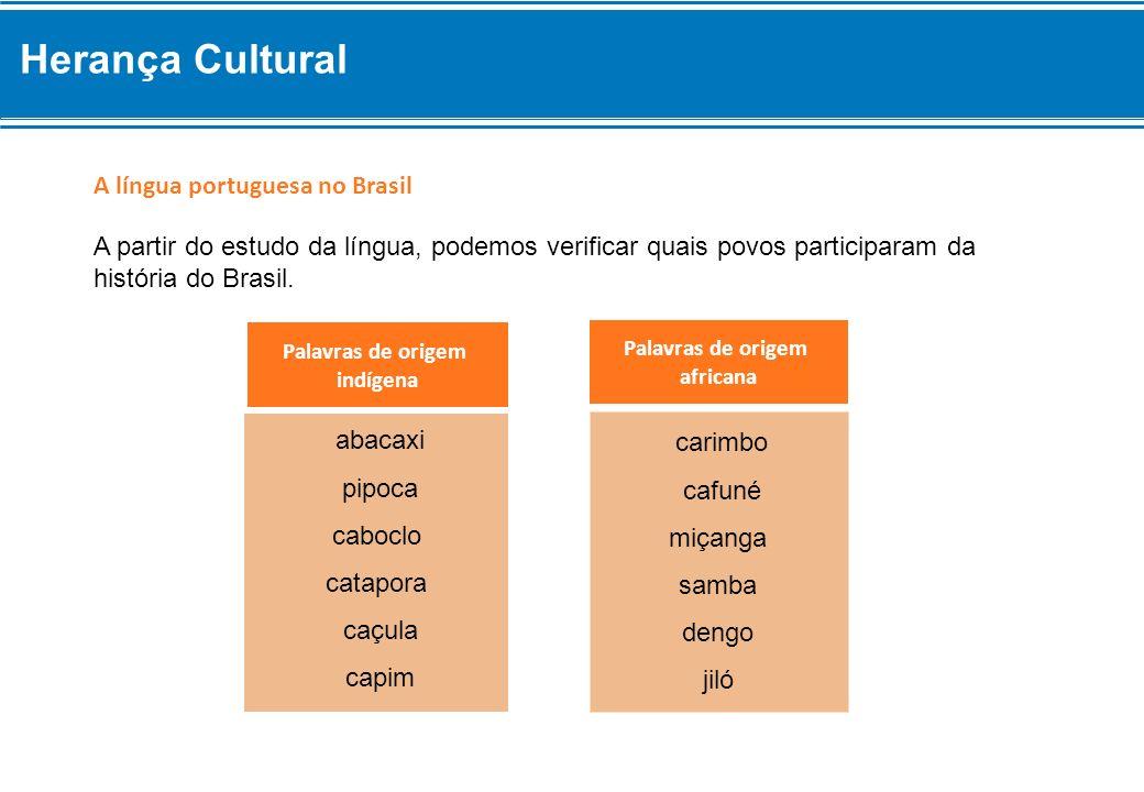 Herança Cultural A língua portuguesa no Brasil