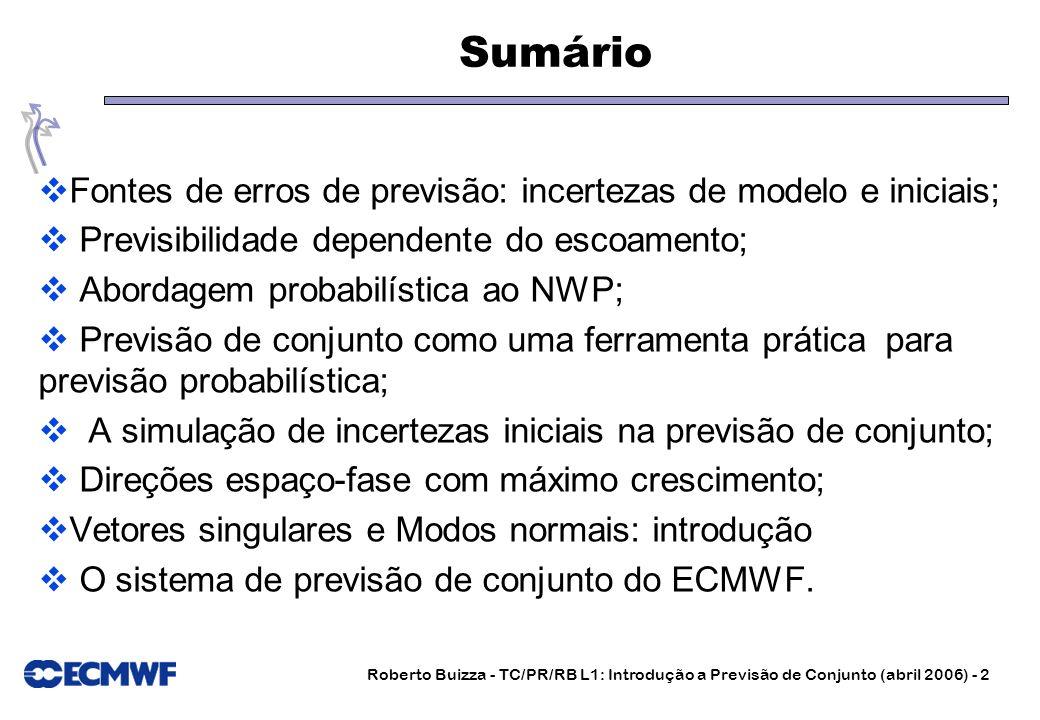 Sumário Fontes de erros de previsão: incertezas de modelo e iniciais;