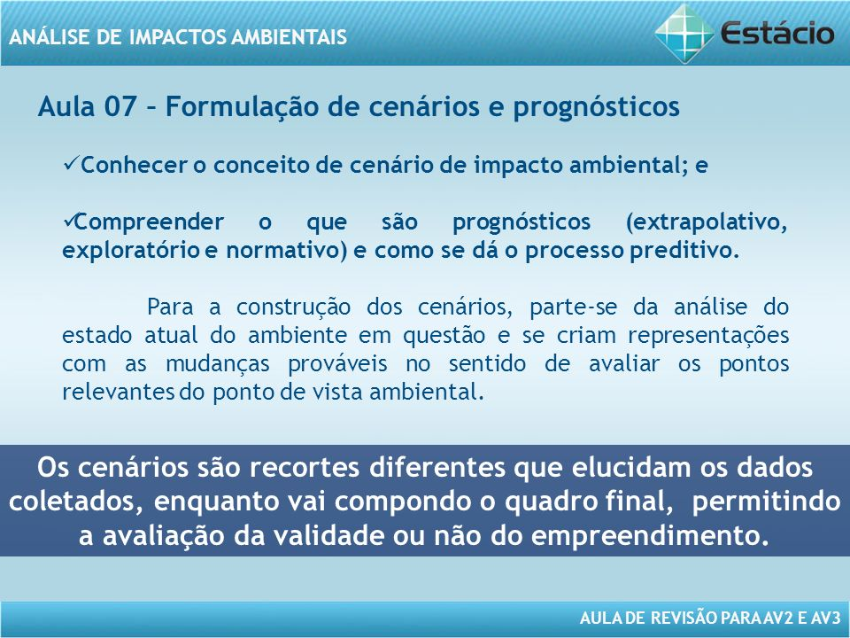 Aula 07 – Formulação de cenários e prognósticos