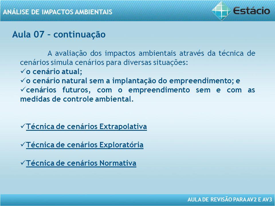 Aula 07 – continuação A avaliação dos impactos ambientais através da técnica de cenários simula cenários para diversas situações: