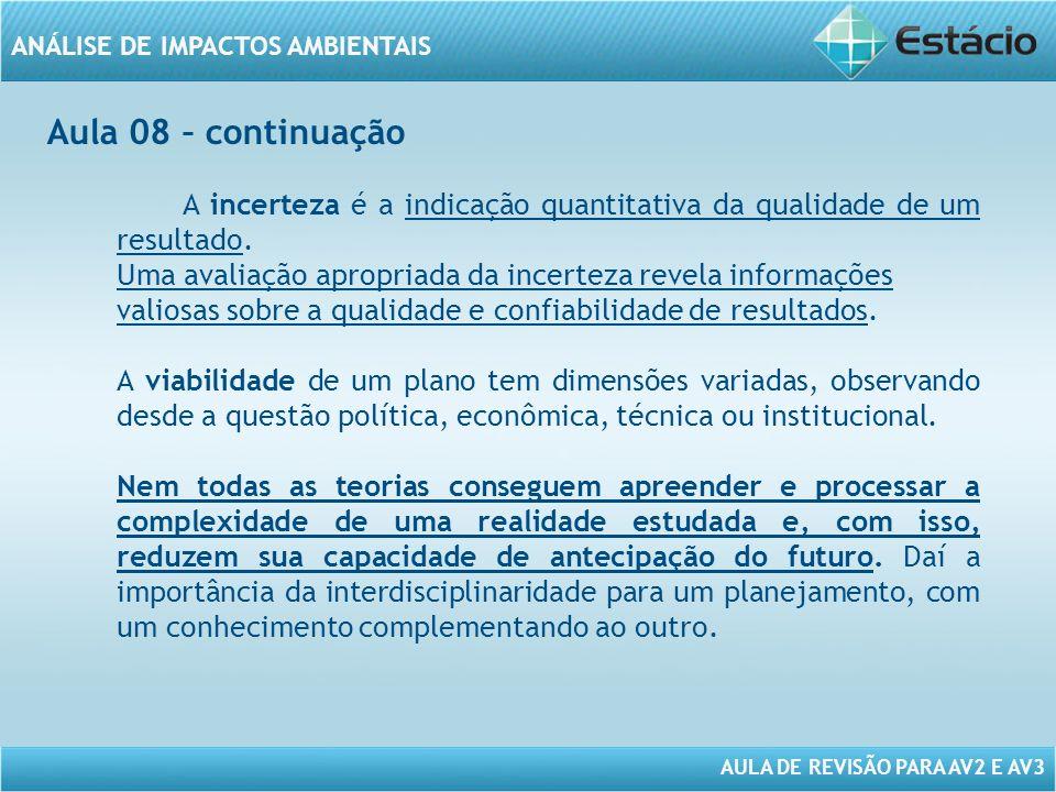 Aula 08 – continuação A incerteza é a indicação quantitativa da qualidade de um resultado.
