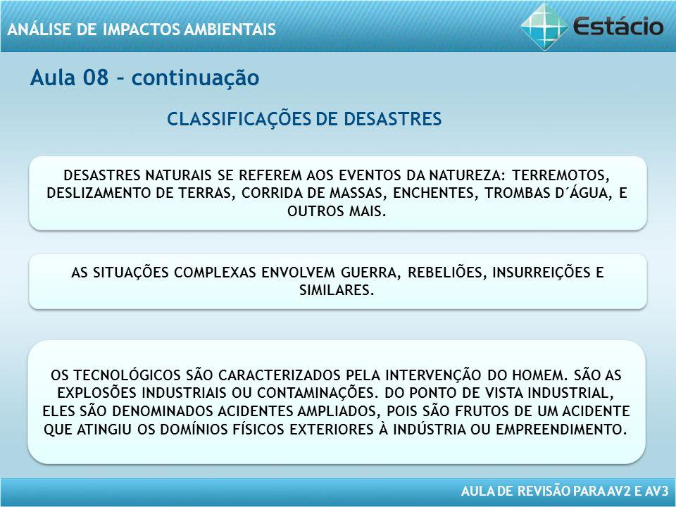 CLASSIFICAÇÕES DE DESASTRES