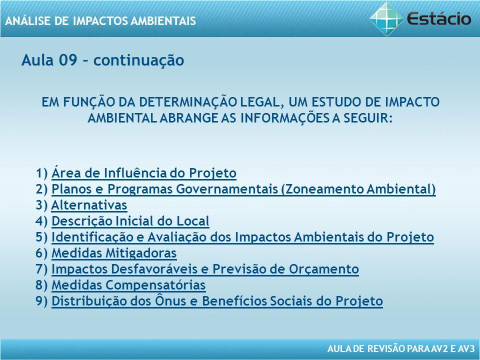 Aula 09 – continuação EM FUNÇÃO DA DETERMINAÇÃO LEGAL, UM ESTUDO DE IMPACTO AMBIENTAL ABRANGE AS INFORMAÇÕES A SEGUIR:
