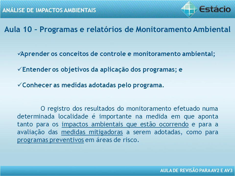 Aula 10 – Programas e relatórios de Monitoramento Ambiental