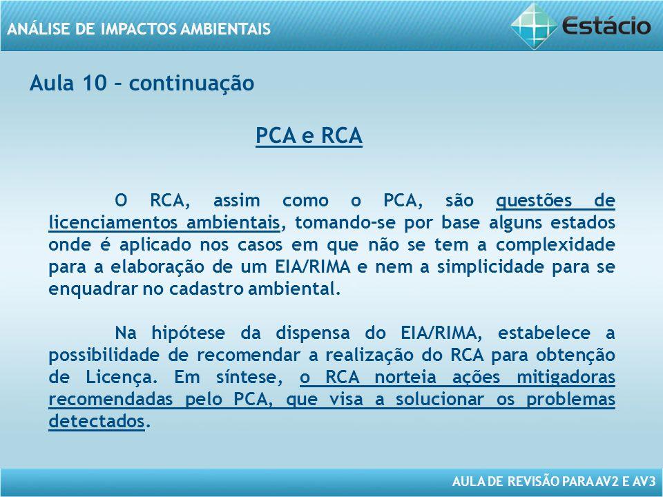 Aula 10 – continuação PCA e RCA