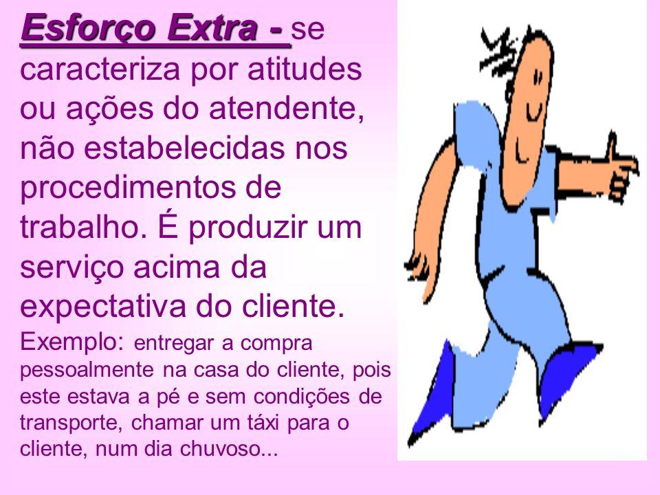 Esforço Extra - se caracteriza por atitudes ou ações do atendente, não estabelecidas nos procedimentos de trabalho.