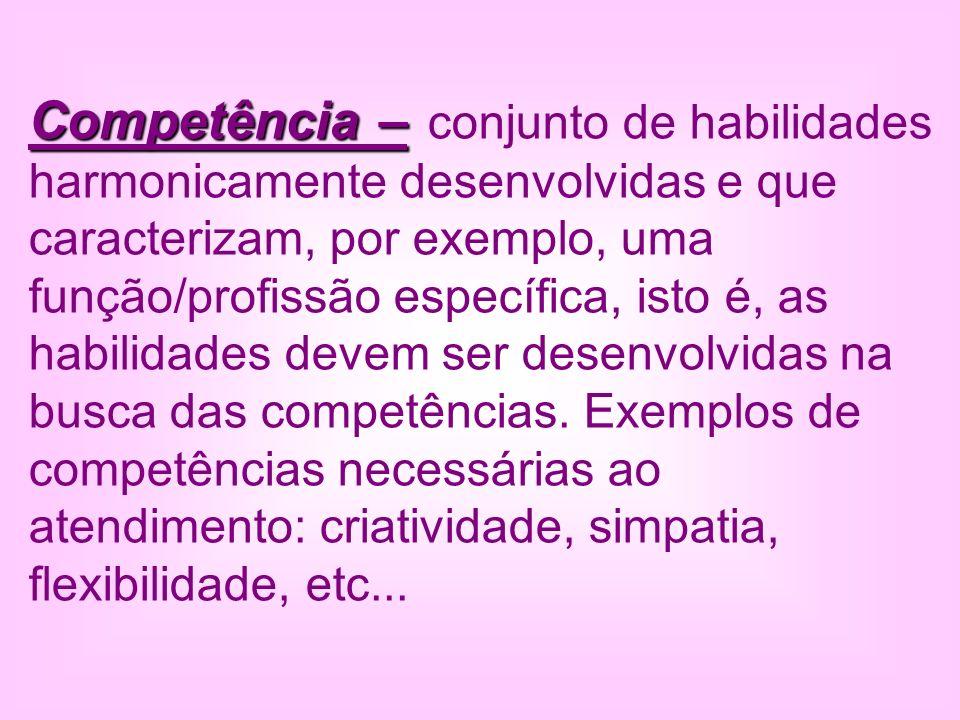 Competência – conjunto de habilidades harmonicamente desenvolvidas e que caracterizam, por exemplo, uma função/profissão específica, isto é, as habilidades devem ser desenvolvidas na busca das competências. Exemplos de competências necessárias ao atendimento: criatividade, simpatia, flexibilidade, etc...