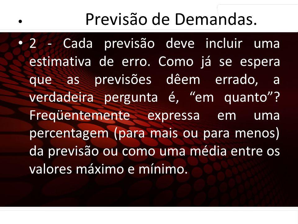 Previsão de Demandas. Princípios de Previsão…