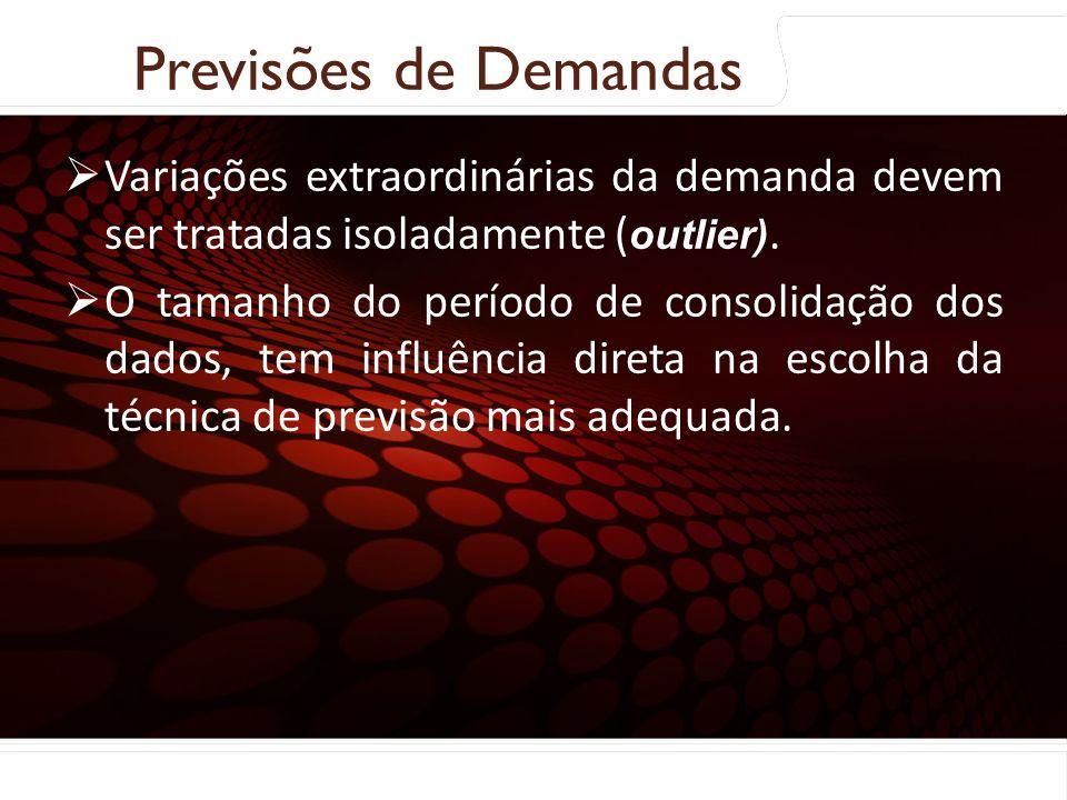 Previsões de Demandas Coleta e preparação dos dados: Variações extraordinárias da demanda devem ser tratadas isoladamente (outlier).