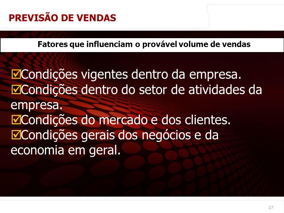 Fatores que influenciam o provável volume de vendas