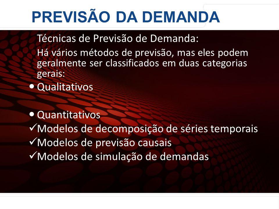 PREVISÃO DA DEMANDA Técnicas de Previsão de Demanda: