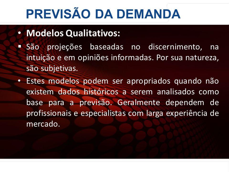 PREVISÃO DA DEMANDA Modelos Qualitativos: