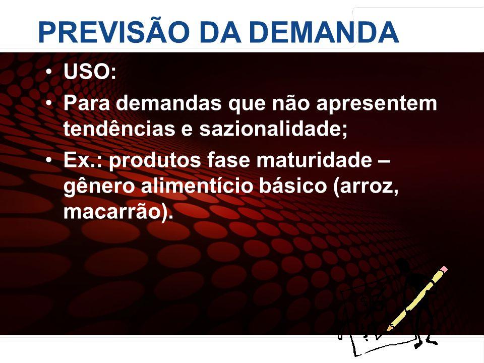 PREVISÃO DA DEMANDA USO: