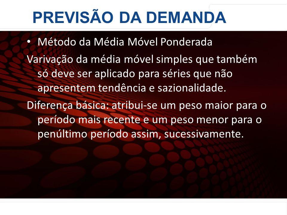 PREVISÃO DA DEMANDA Método da Média Móvel Ponderada