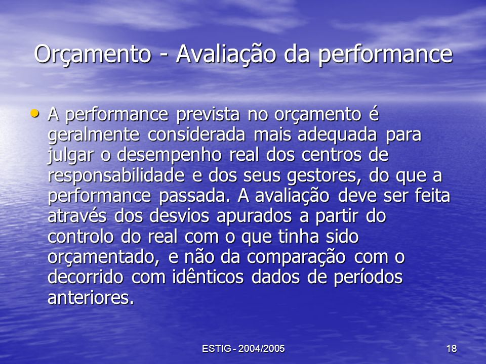 Orçamento - Avaliação da performance