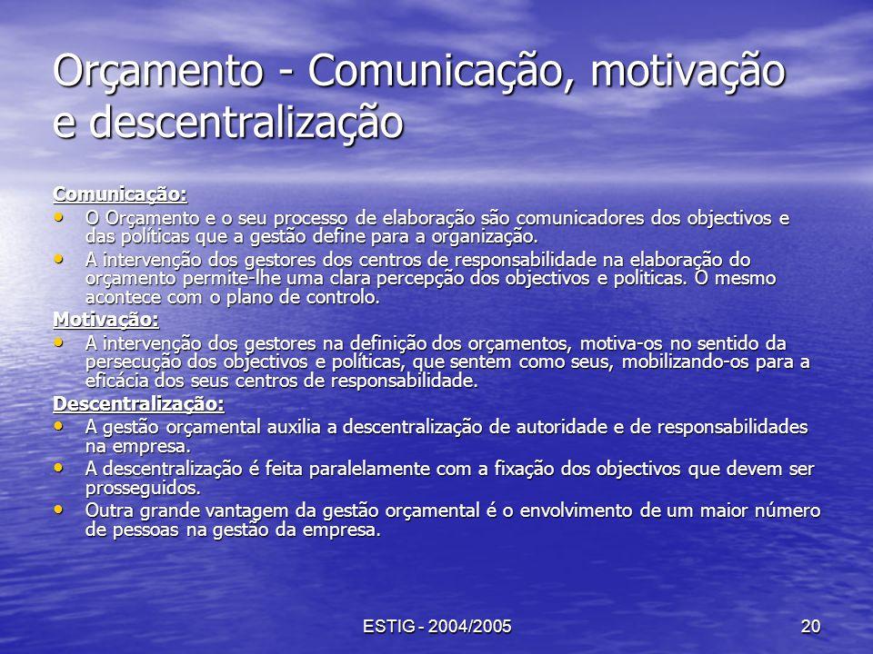 Orçamento - Comunicação, motivação e descentralização