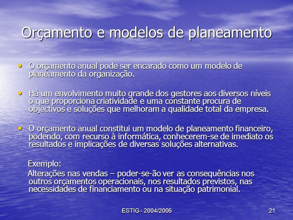 Orçamento e modelos de planeamento