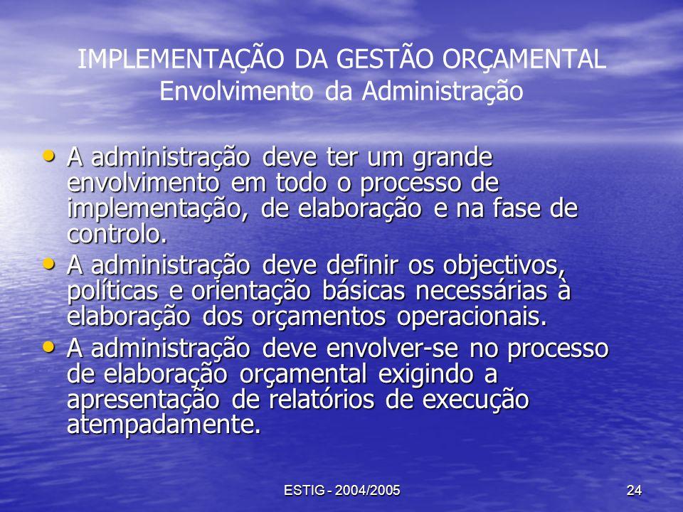 IMPLEMENTAÇÃO DA GESTÃO ORÇAMENTAL Envolvimento da Administração