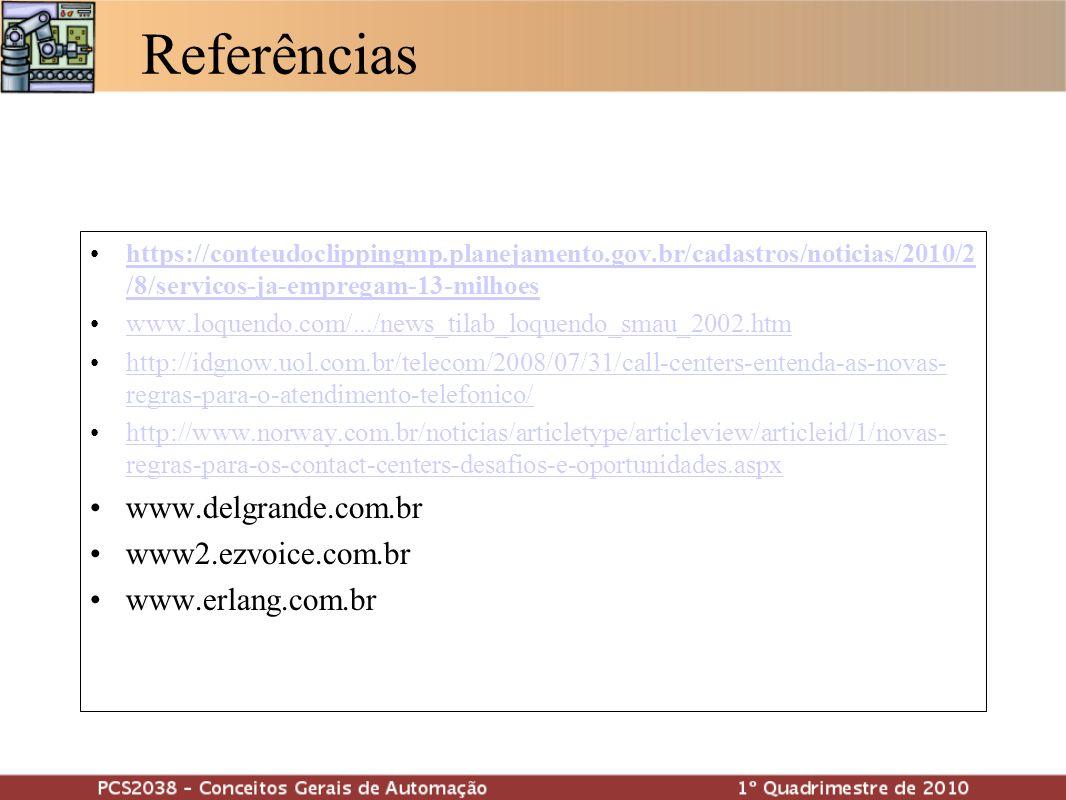 Referências www.delgrande.com.br www2.ezvoice.com.br www.erlang.com.br