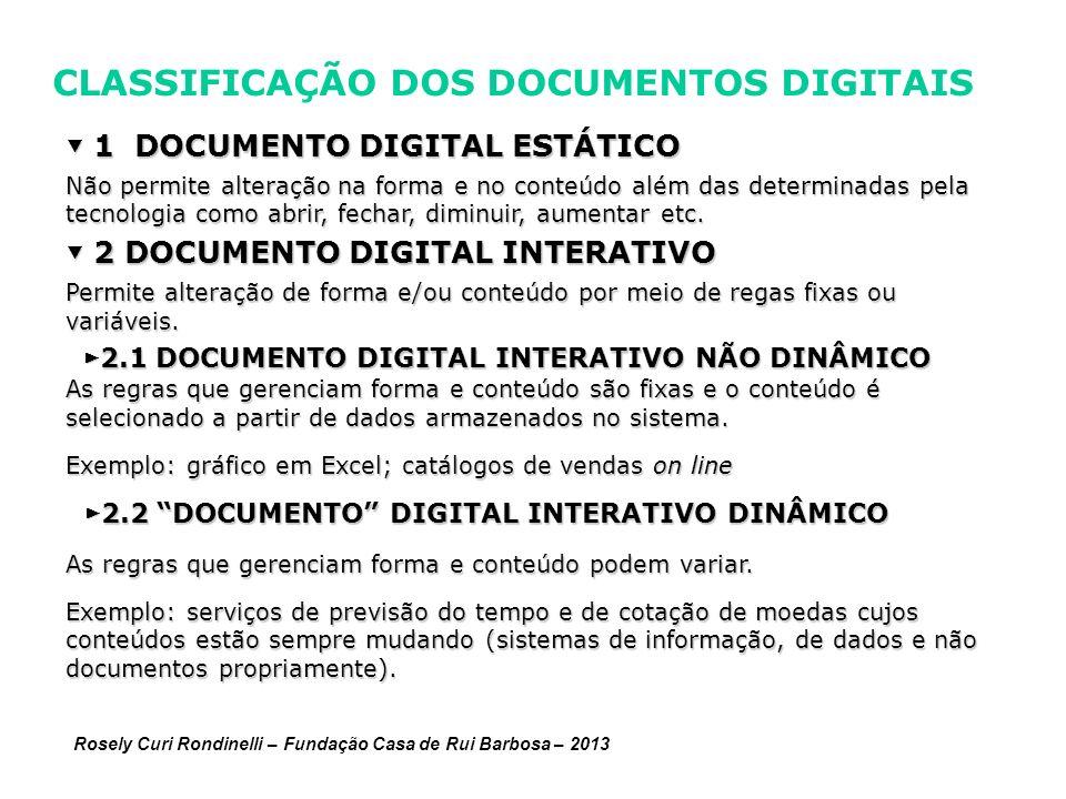 CLASSIFICAÇÃO DOS DOCUMENTOS DIGITAIS