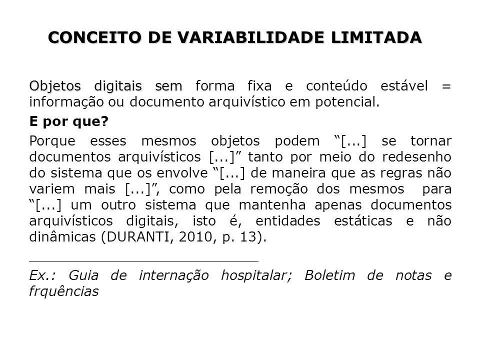 CONCEITO DE VARIABILIDADE LIMITADA