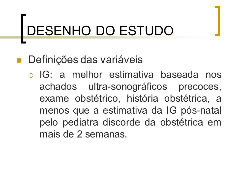 DESENHO DO ESTUDO Definições das variáveis