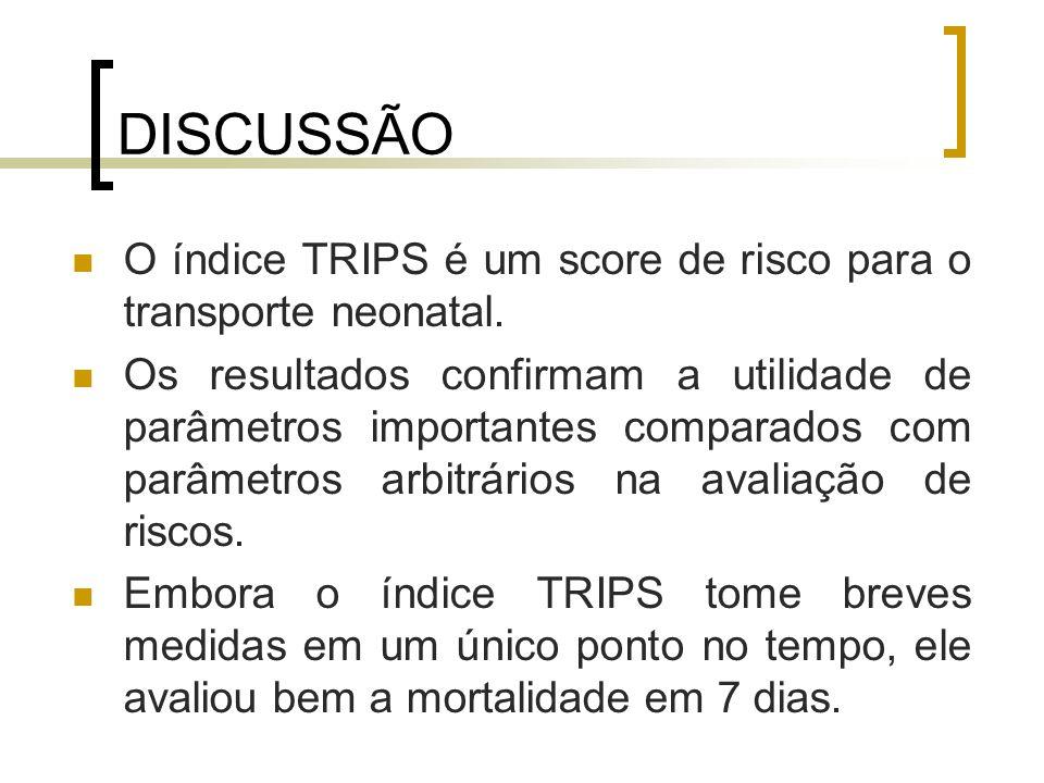 DISCUSSÃO O índice TRIPS é um score de risco para o transporte neonatal.