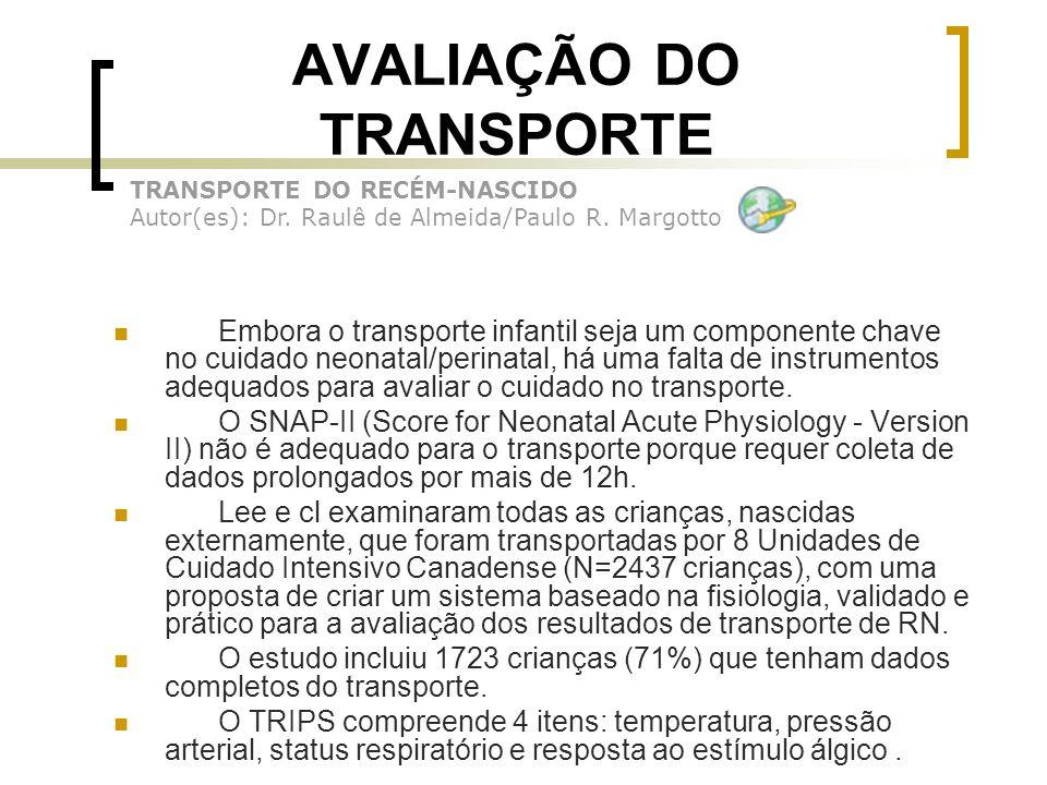 AVALIAÇÃO DO TRANSPORTE