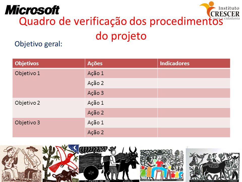 Quadro de verificação dos procedimentos do projeto