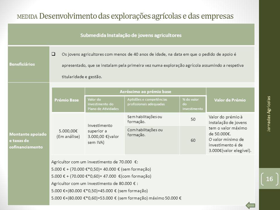 medida Desenvolvimento das explorações agrícolas e das empresas