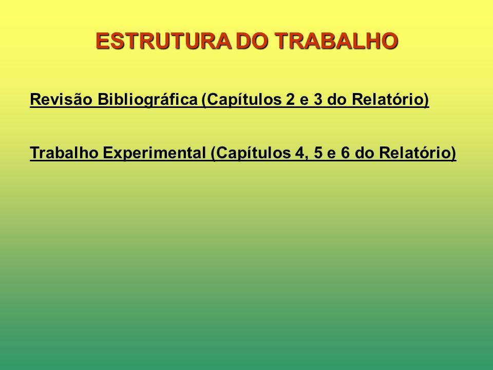 ESTRUTURA DO TRABALHO Revisão Bibliográfica (Capítulos 2 e 3 do Relatório) Trabalho Experimental (Capítulos 4, 5 e 6 do Relatório)