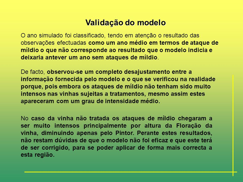 Validação do modelo