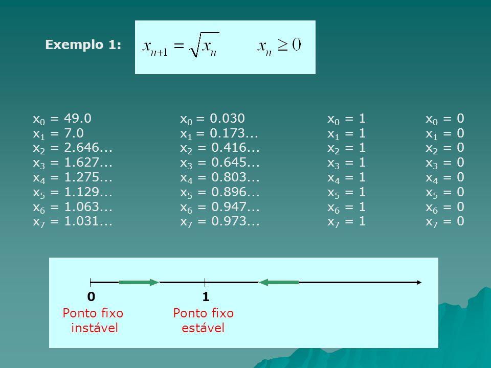 Exemplo 1: x0 = 49.0 x0 = 0.030 x0 = 1 x0 = 0. x1 = 7.0 x1 = 0.173... x1 = 1 x1 = 0. x2 = 2.646... x2 = 0.416... x2 = 1 x2 = 0.