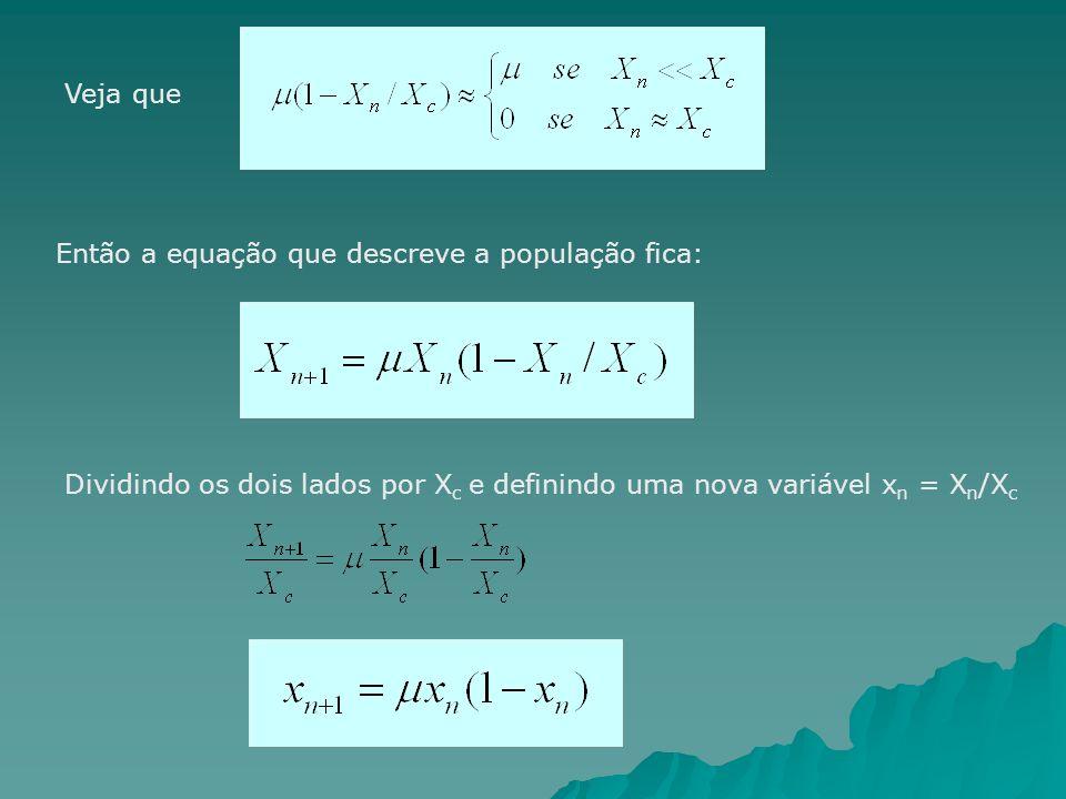 Veja que Então a equação que descreve a população fica: Dividindo os dois lados por Xc e definindo uma nova variável xn = Xn/Xc.