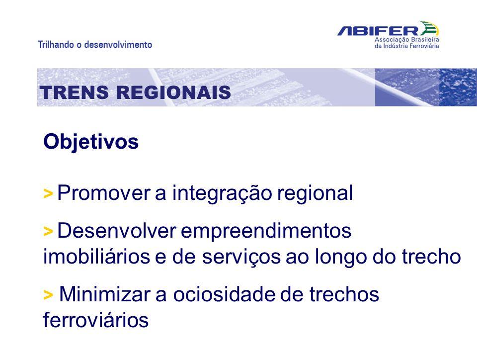 Objetivos TRENS REGIONAIS > Promover a integração regional
