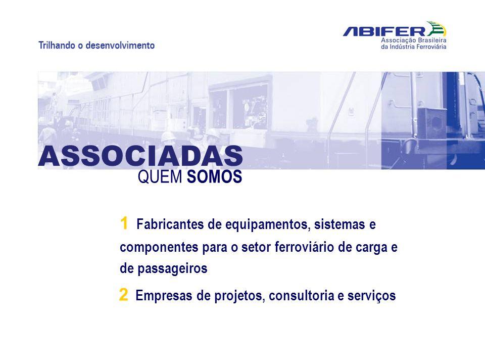 ASSOCIADAS QUEM SOMOS. 1 Fabricantes de equipamentos, sistemas e componentes para o setor ferroviário de carga e de passageiros.
