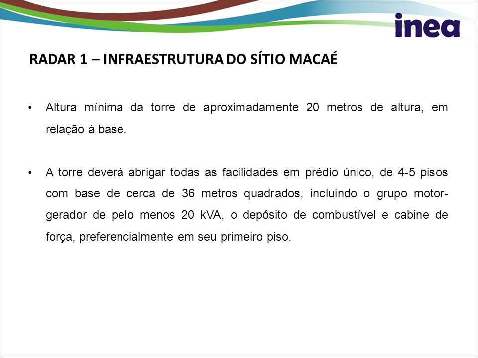 RADAR 1 – INFRAESTRUTURA DO SÍTIO MACAÉ